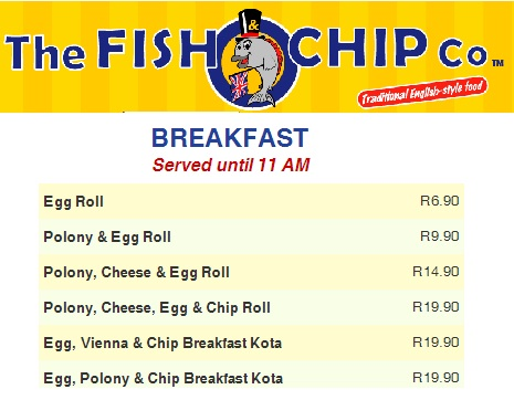 Fish and Chip Co Breakfast Menu