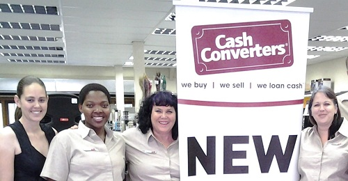Hayley Kingaby & Maureen Gordon, mom and daughter owners of the new Cash Converters in Oxford Village, Hillcrest celebrate the opening with some of their female team