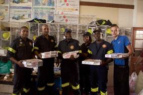 Fire Fighters holding Dominos
