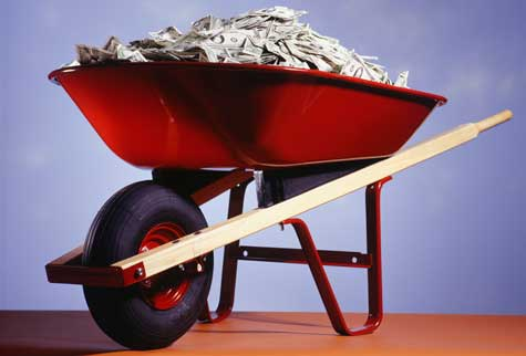 money wheel barrow